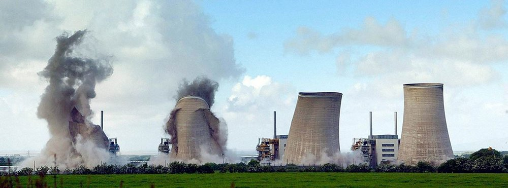 The cooling towers at Chapelcross power station being decommissioned ©PA Images