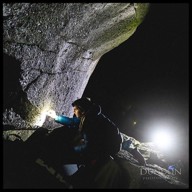 It can be hard to explain and difficult to understand. Why do people like myself get such joy from driving relatively long distances after a days work, just to climb around on boulders in the middle of the night?  In this image @sebs_gone_bust is ticking foot holds on Tsunami at Bonehill.  #bonehill #bouldering
