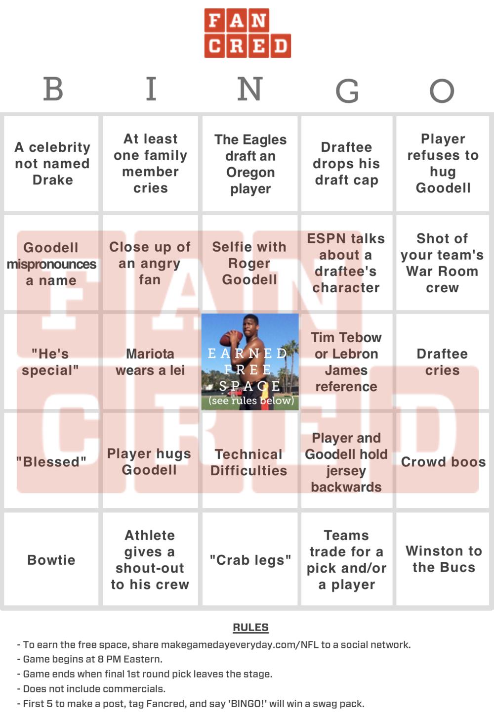 Draft Day Bingo