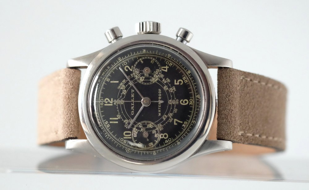 Gallet Multichron 30M Clamshell Chronograph Gilt Dial   SOLD