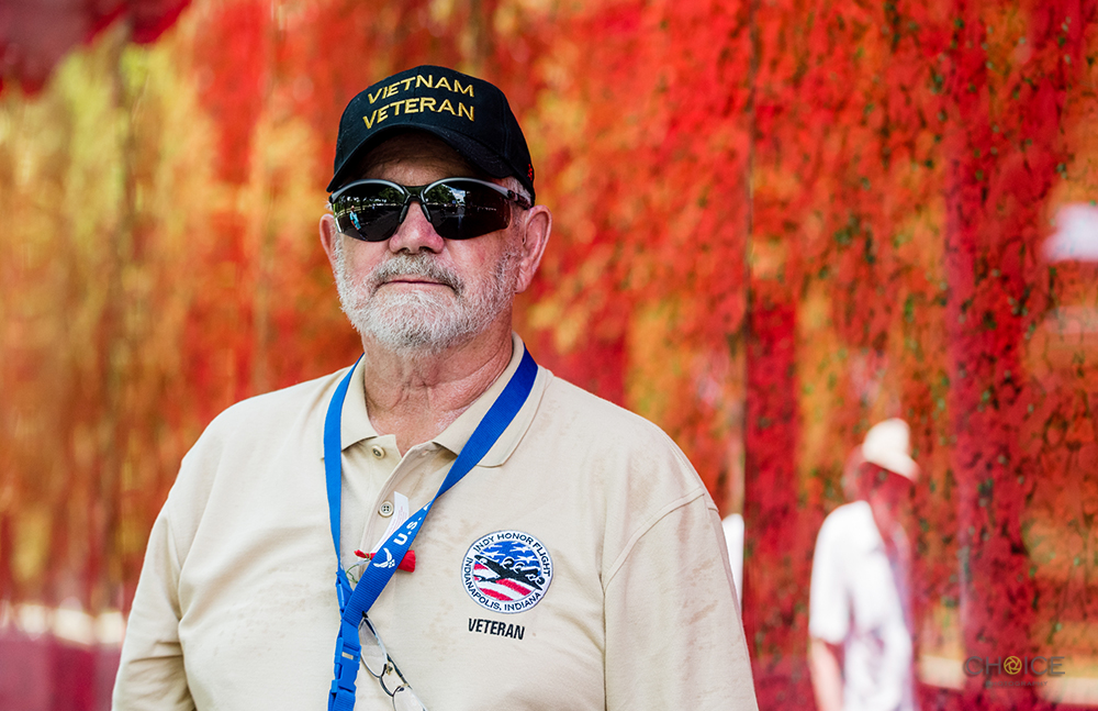 Dwayne Phifer, Honor Flight recipient and who served in United States Army from 1959-1963 in front of The Poppy Memorial at National Mall on May 26, 2018 in Washington, D.C. (Photo by Rodney Choice/AP Images for USAA)