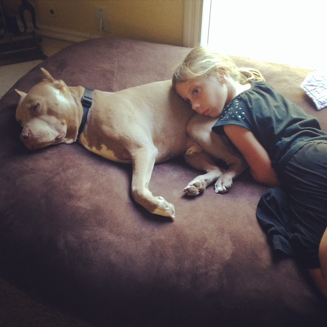 Jorai with Rico, our rescue pit bull. What an amazing family dog he is!
