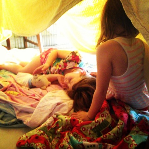 4:15pm: twins come inside and build a tent in the dining room