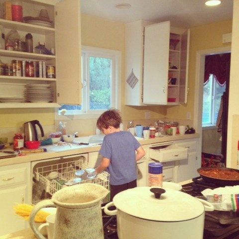 4:15pm: Boys help with chores. Jude loads dishwasher, James takes out trash