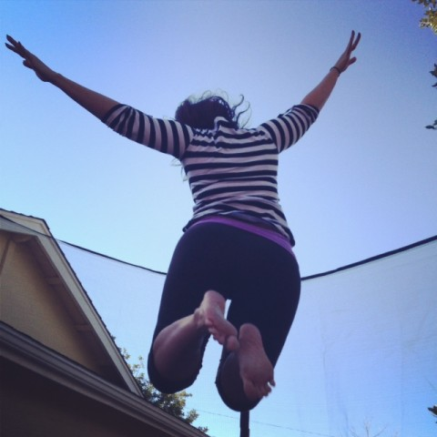 I beeliieeeve I can fly! Or, at least, jump on this here trampoline.