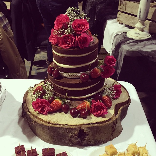 Naked chocolate wedding cake from today's fayre.