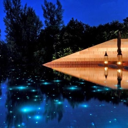 Specialty Lighting Features - View our specialty products such as galaxy fiber optic pool lighting, galaxy rocks, illuminated waterfalls, lightbender laminars, color changing bubblers, and lighted spills and fire bowls.