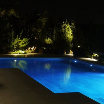 Pool and Spa Lighting - Light up the water and transform your pool and the surrounding area into your personal oasis.Using colored LEDs you can create a unique atmosphere ranging from sleek and modern to whimsical and majestic. If the classic look is more your style, know that a soft white glow goes a long way when creating the perfect ambiance.