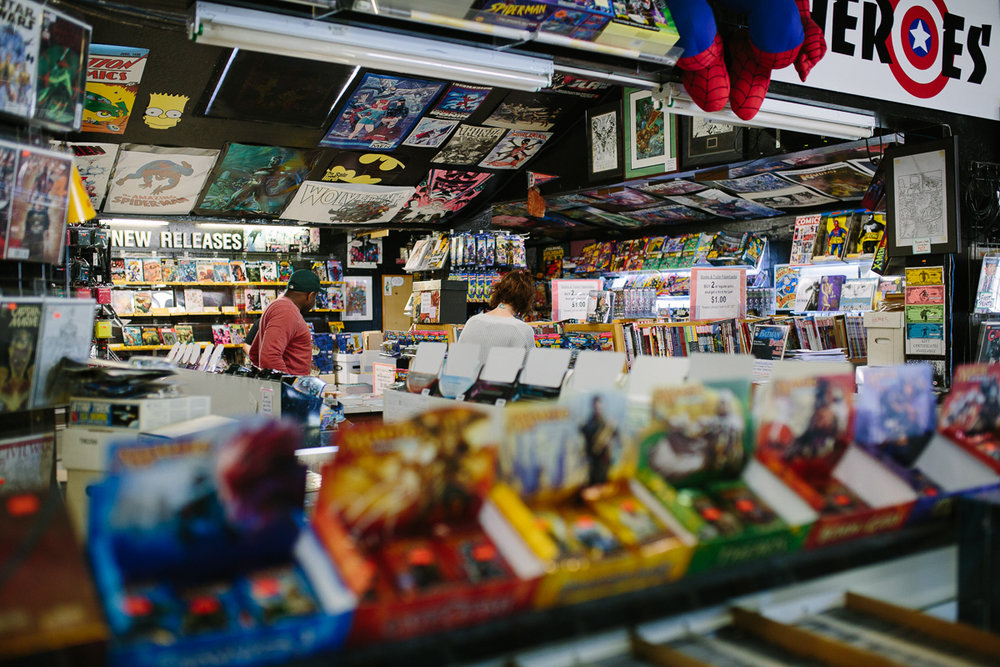 comic book store photography session