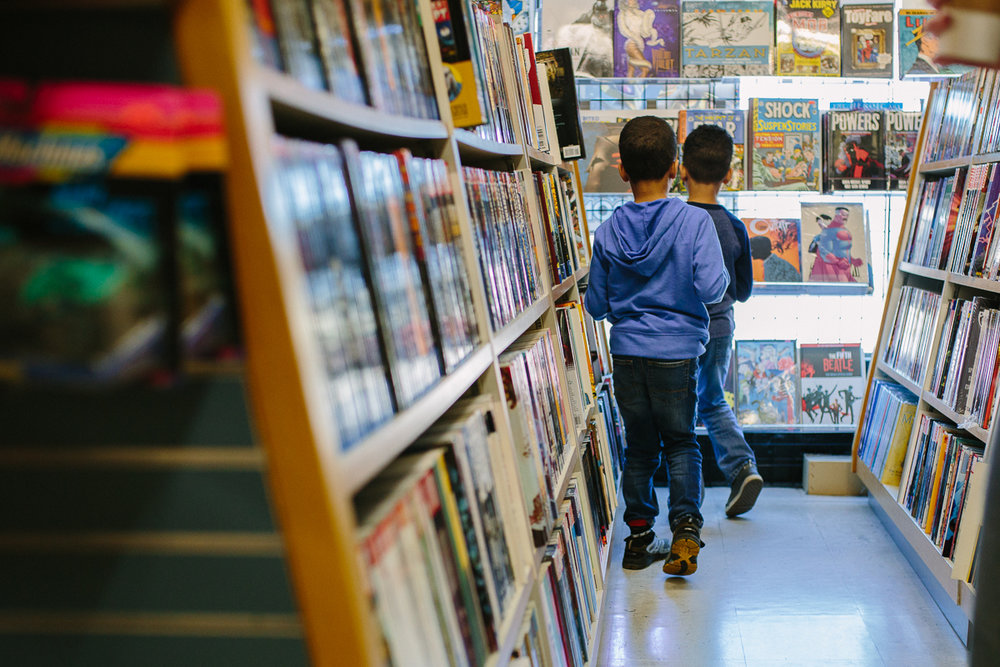 twin boys comic book store