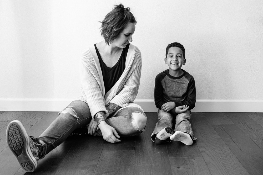 mom and son black and white