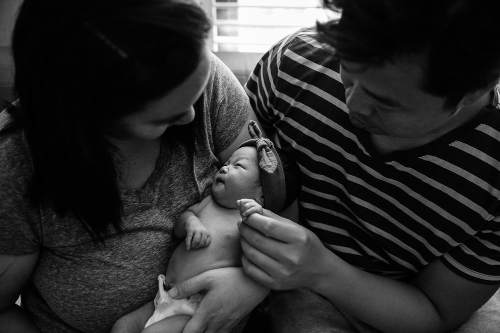 family of three newborn session