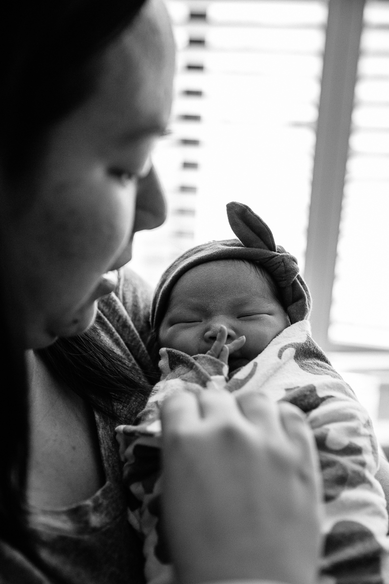 newborn baby girl with mom