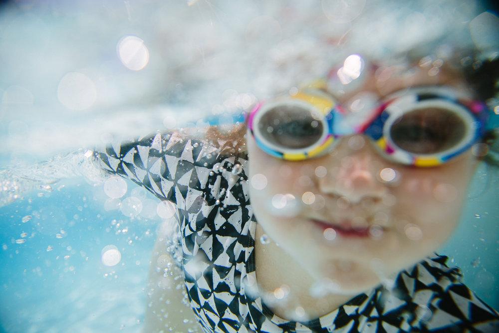 underwater smiling