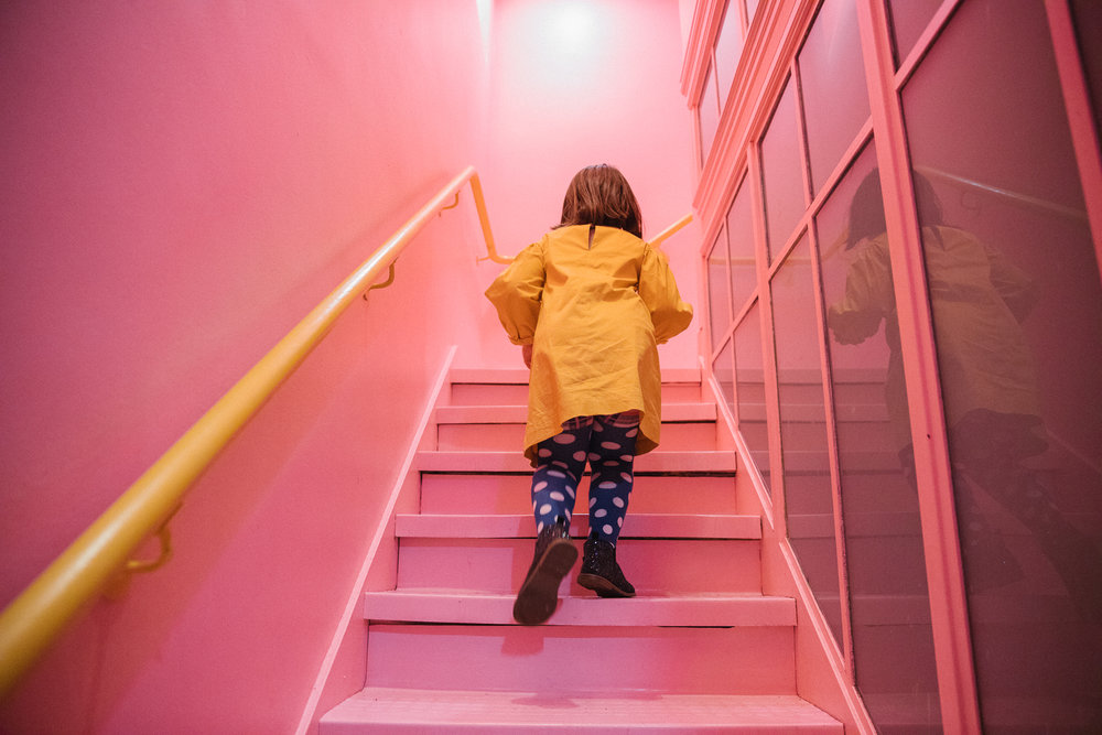 pink stairs