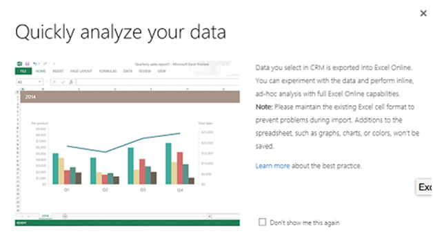 Use Excel Online from within CRM Online