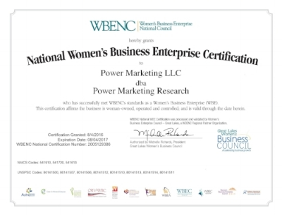 Power Marketing Research Is Now WBE-Certified — Power Marketing Research
