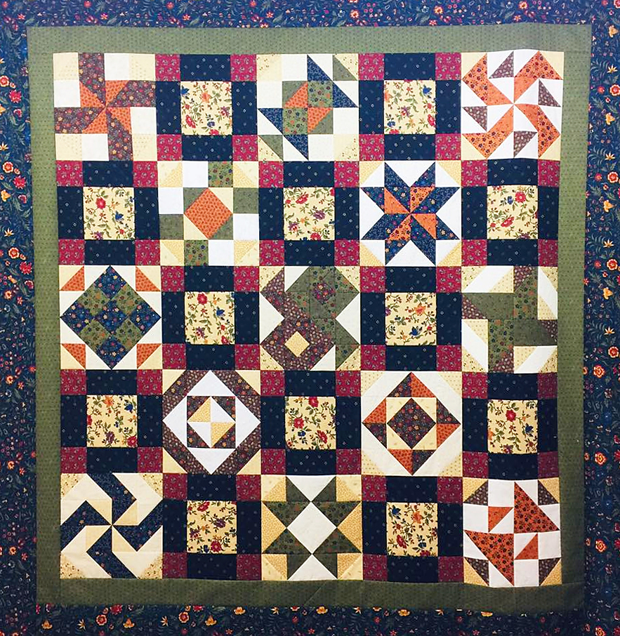 Here is a sample of the finished 2019 Saturday Sampler Quilt!