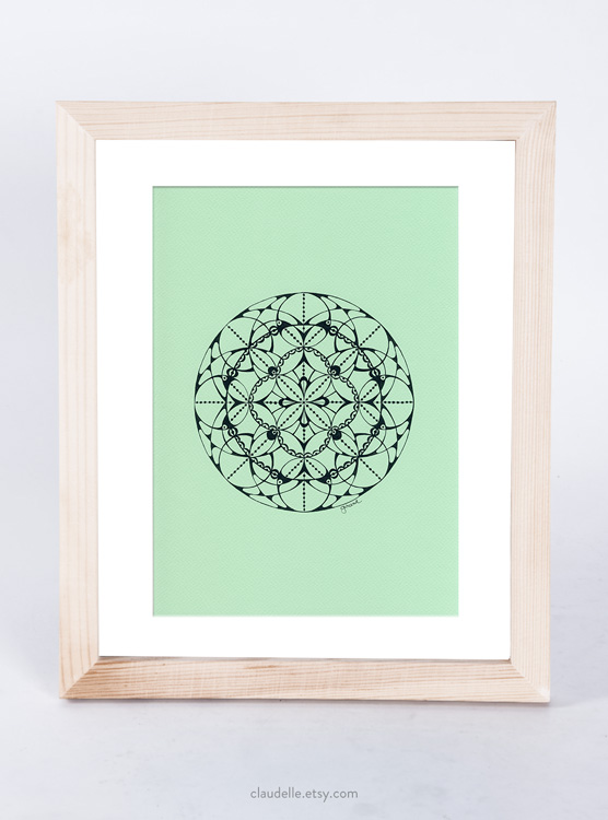A4 mandala in pigment ink on acid free Fabriano Tiziano 160g artist paper in Aquamarine