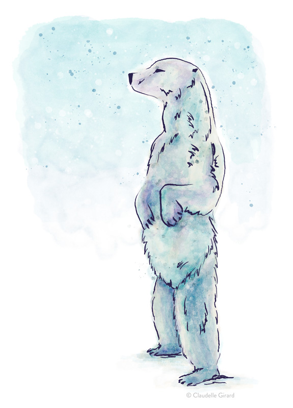 Polar Bear Digital Watercolor