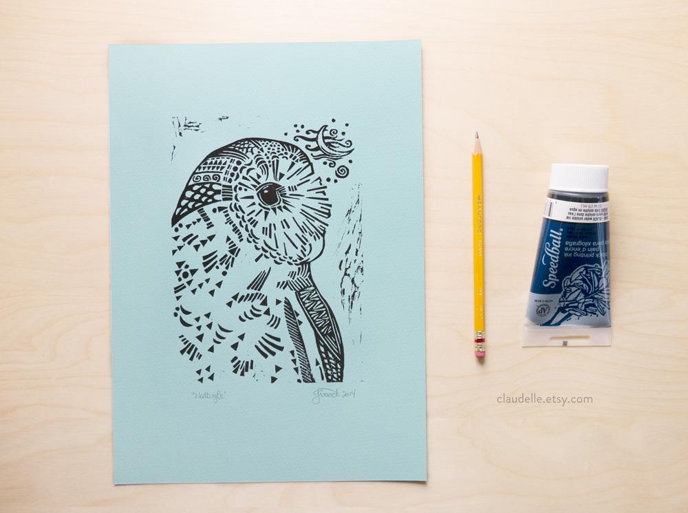 Night Owl Linocut