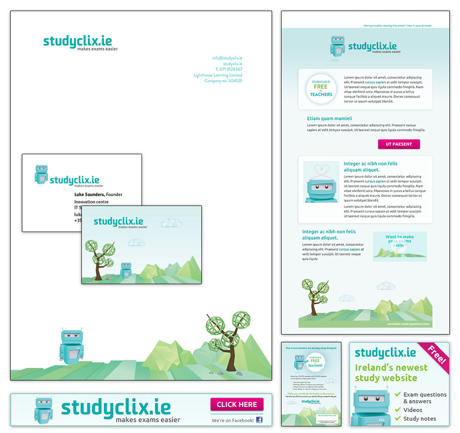 A variety of Studyclix material, including stationery, an email newsletter template, and digital advertisements