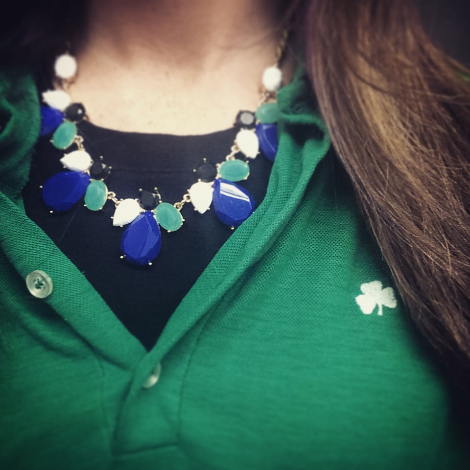 Every outfit needs a little accessorizing, even on St. Patrick's Day! I paired this bejeweled statement necklace with my green garb to celebrate the day in style.   About:   Whether you're accessory addicted or a bit sparkle-shy, there's nothing like jewelry. When you put on the right piece, it transforms your whole look, along with your attitude. But that dazzling effect is impossible to experience from seeing a few pictures online. That's why founders Meaghan and Maia created Rocksbox: to help women everywhere enhance their style through an ever-rotating selection of jewelry, chosen for them and sent directly to their doors.   How it Works:    * $ 19  for Unlimited Jewelry Rental-  Borrow 3 pieces at a time, and swap them out anytime you want.   * $ 10  Monthly Shine Spend-  Fall in love? You can buy any piece from your Rocksbox Set. Each month you have $10 in Shine Spend to apply towards a purchase.   * Fits in Your Busy Life-  Free, prepaid shipping both ways. Fits in your mailbox. Easier than shopping!   Start your monthly membership here:  www.rocksbox.com      Stay Stylish Chicago,     Katie