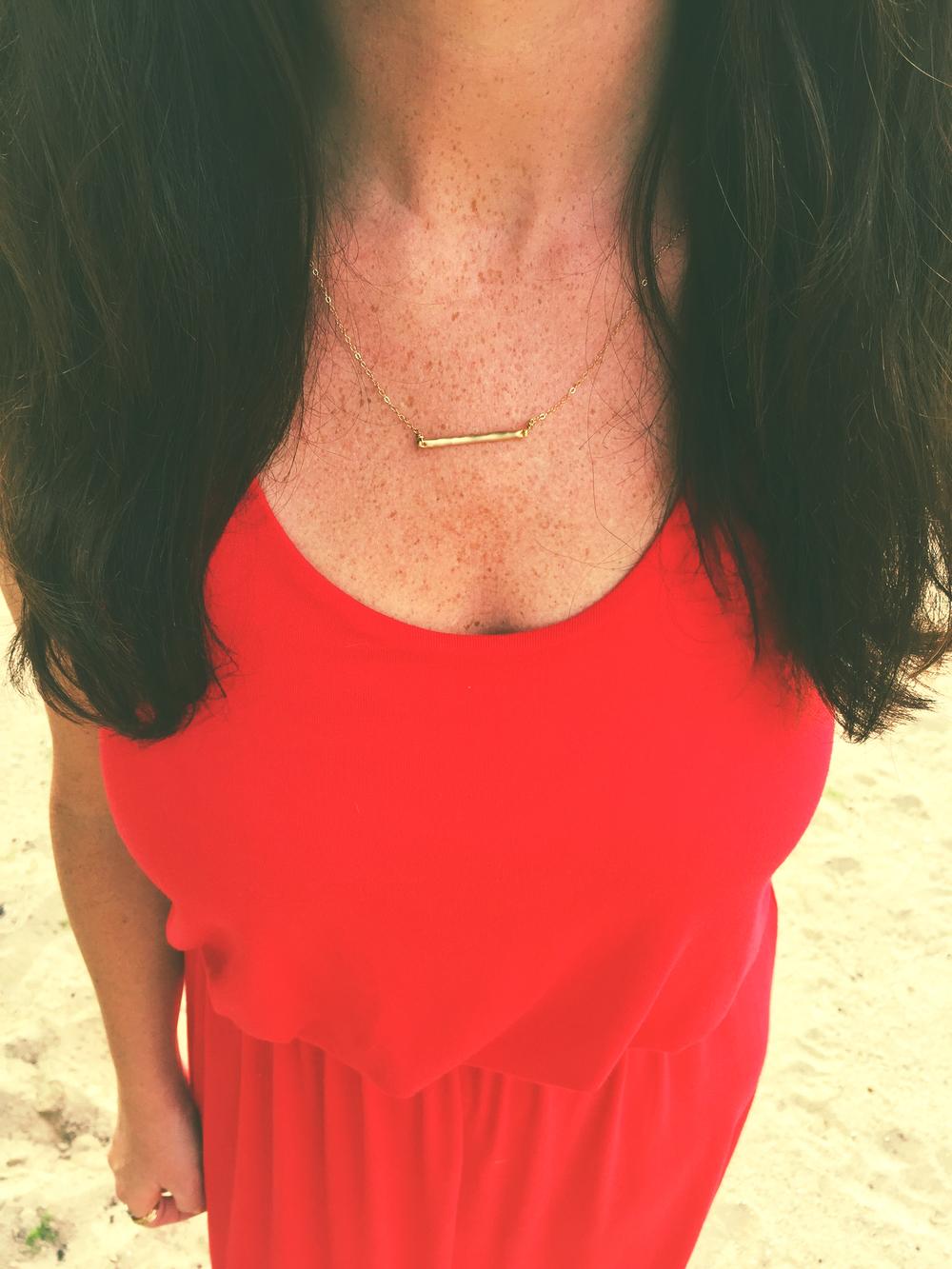 """Matte Gold Barr Necklace"""