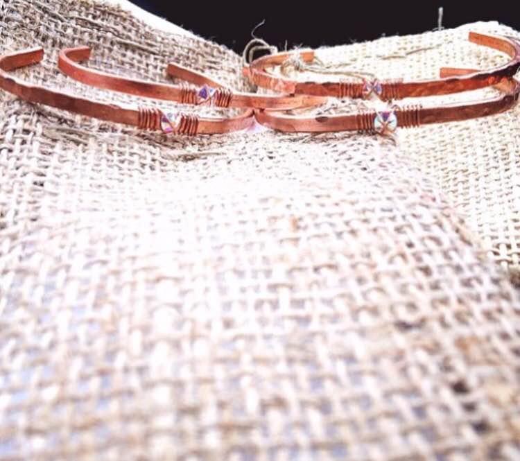 Copper cuff with Swarvoski Crystal