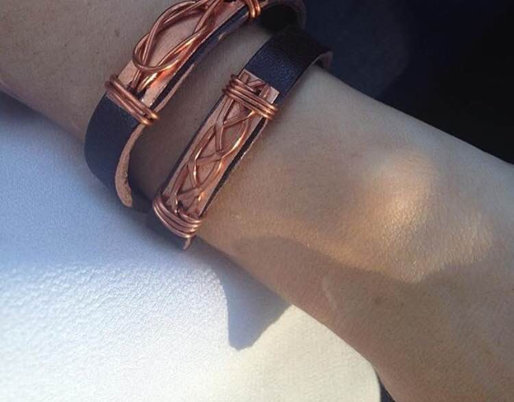 Recycled Leather Belt Wrap Bracelet with Copper Details