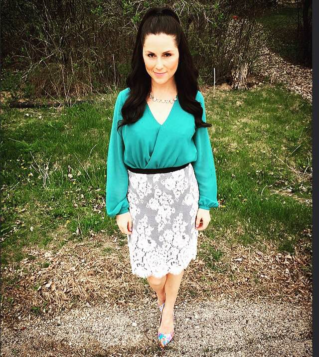 Skirt//Karen Kane    Top//Marshalls    Shoes//Just Fab    Necklace//Chloe + Isabel