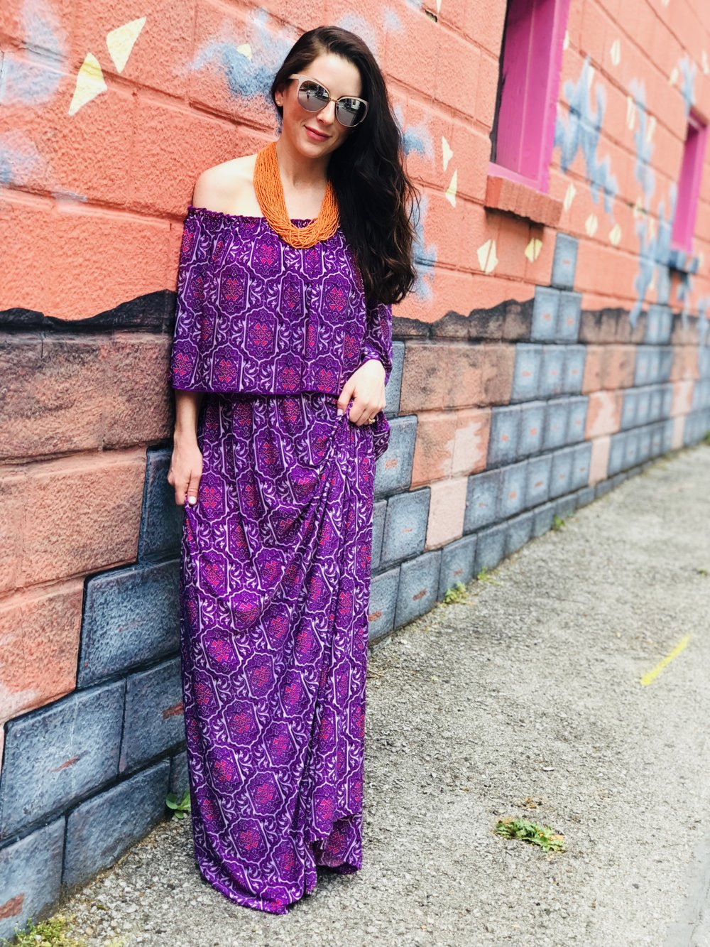 """HEIDI Off The Shoulder Maxi Dress"""