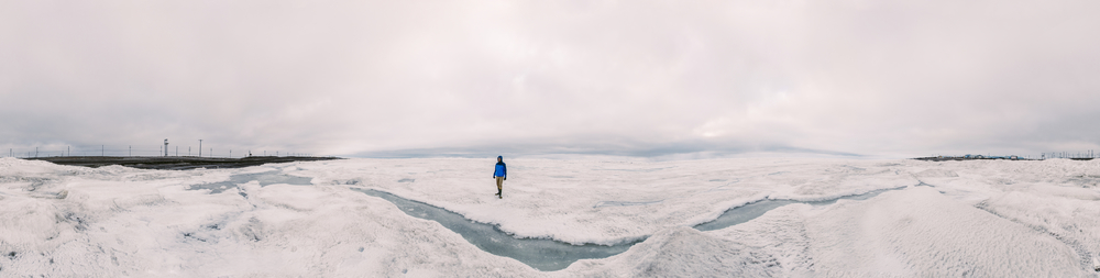 Stephen walking over the frozen Chukchi Sea