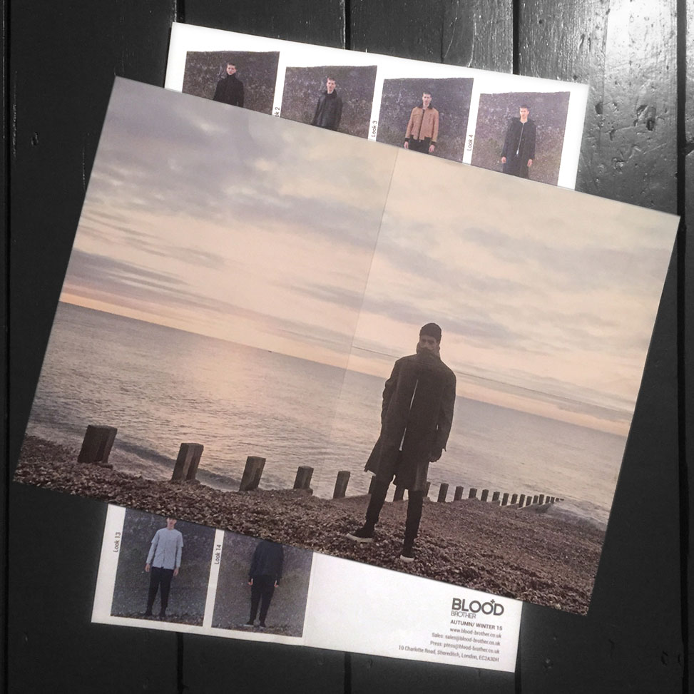 The AW15 printed look book front/back.
