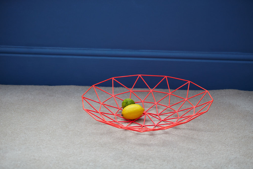 Fruit bowl used to carry washing up left on the bedroom floor.