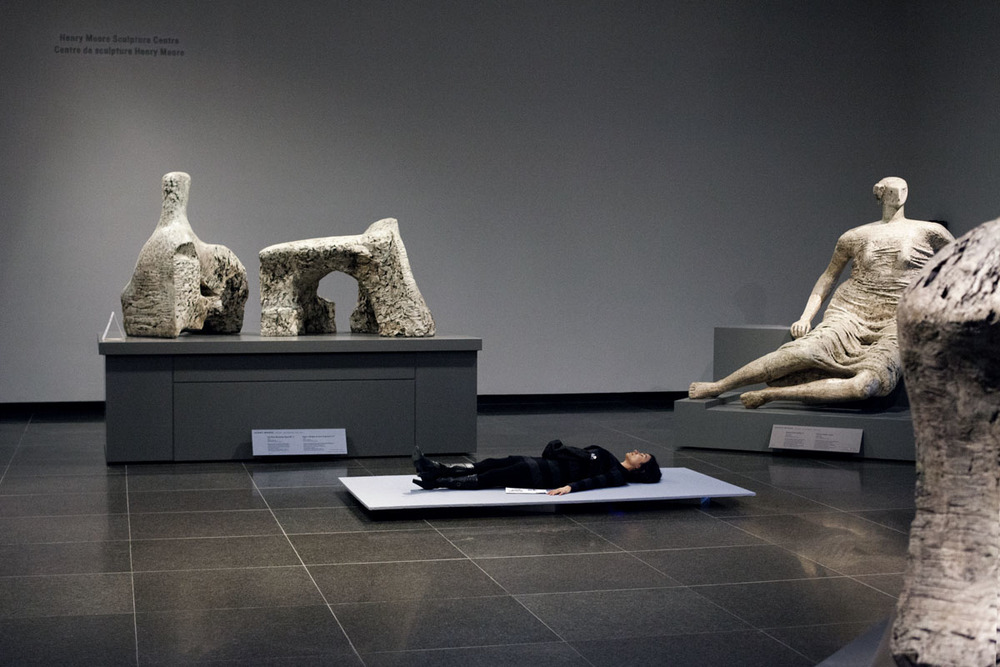 THE RECLINING FIGURE IS A MODEL LISTENER Sound installation, The Art Gallery of Ontario