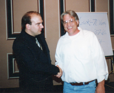 The amazing Merlin of hypno-marketing innovation, Russell Yarnell. Four-time Emmy Award nominee, two-time Emmy Award winner. Multiple Telly Award winning copywriter. Master Hypnotist and owner of the nations most successful hypnosis enterprise in the 1980s. This photo was taken at the Desert Inn in Las Vegas in 1994 at Russ' Advanced Hypno-Marketing Boot Camp.