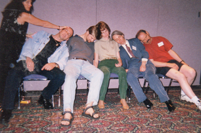 For some reason my audiences just can't stay awake. This was taken at my Stage Hypnosis Training in Las Vegas. The student is doing and exemplary job.
