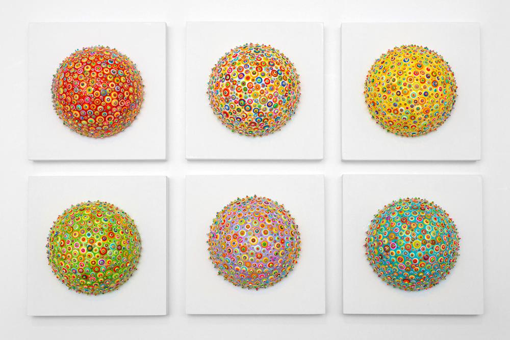 "Bindu World - SOLD  Acrylic and resin on polystyrene. 5""x5""x3"". 2015."