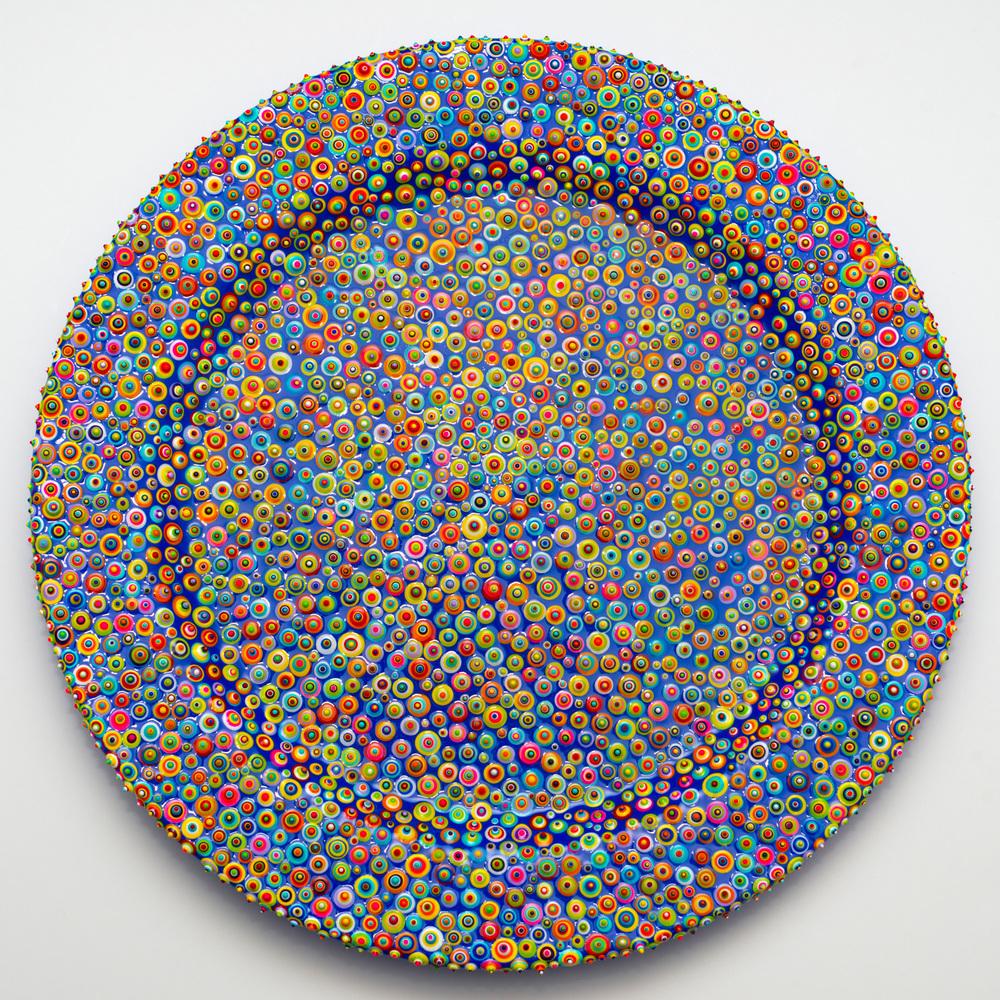 Bindu Folk - SOLD  Acrylic and resin on porcelain. 2016.