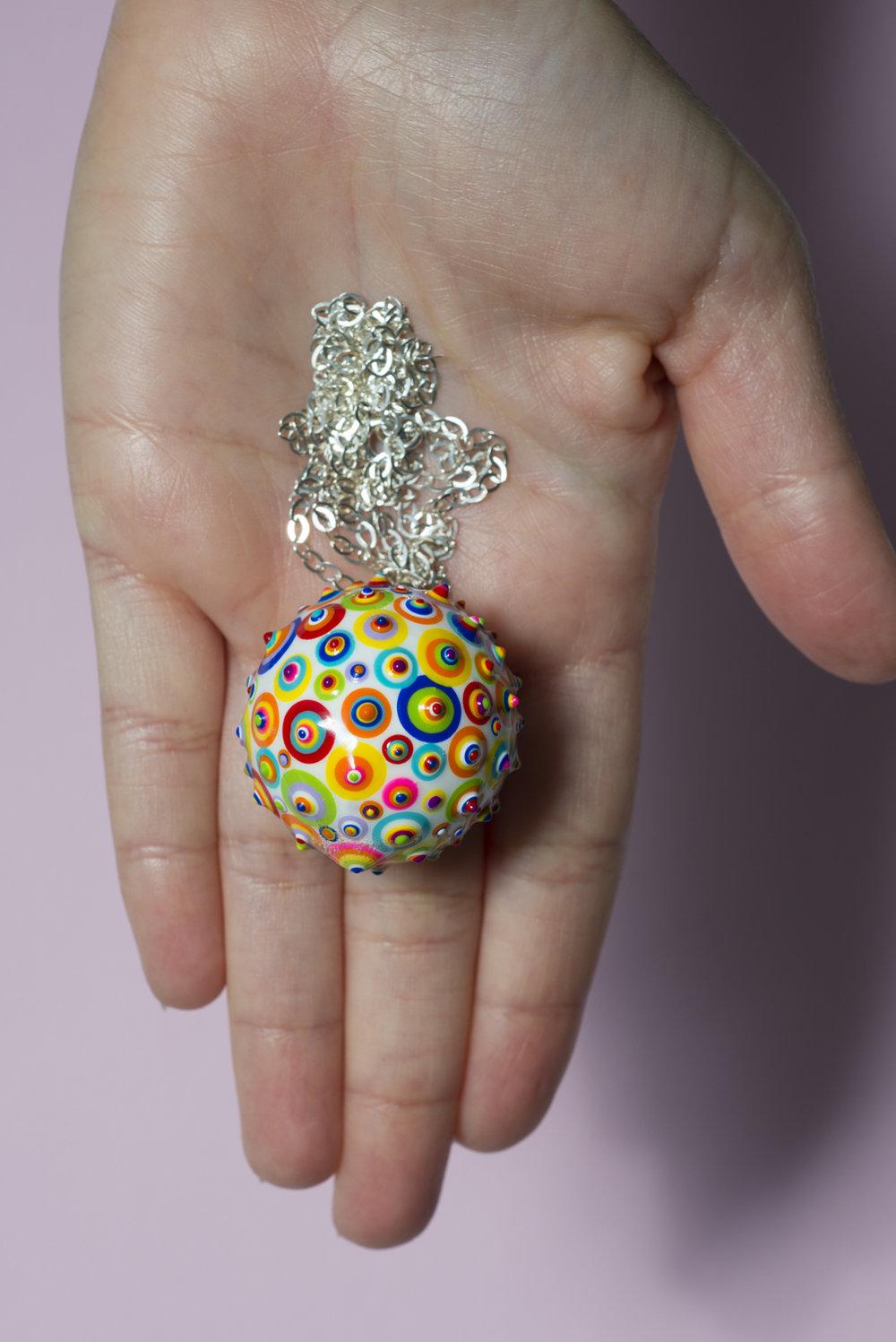 "Bindu Pendant. White #06. 1-1/4"" Sphere. 28"" Silver chain"