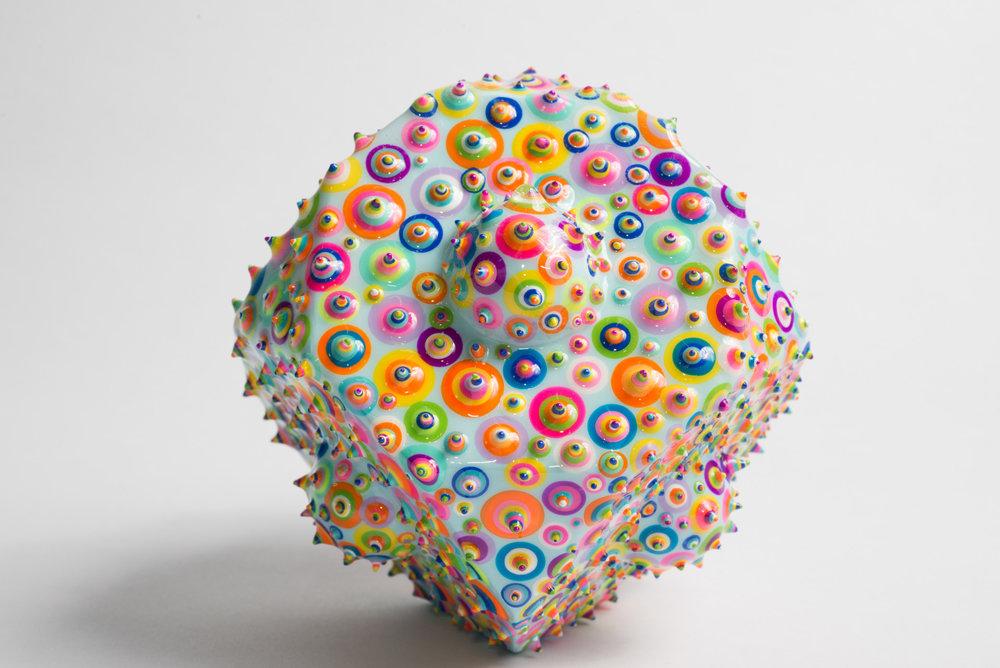 "Bindu Cubix - SOLD  Acrylic and resin on wood. 4"". 2016."