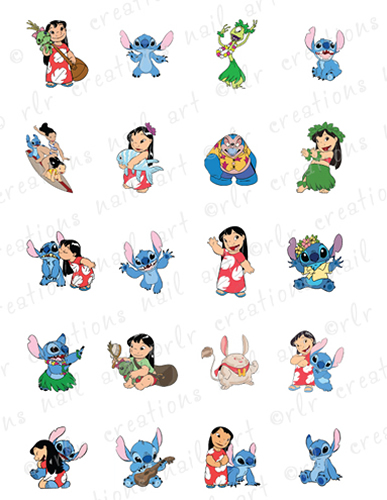 20 waterslide nail art decals lilo and stitch character assortment