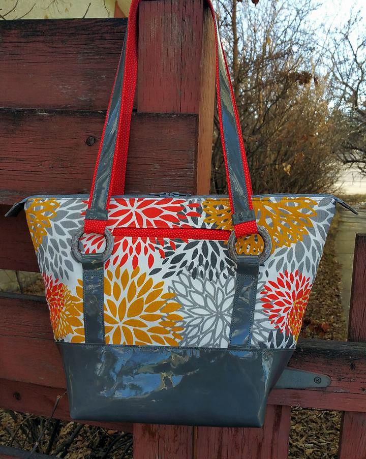 Titania Tote in Patent Leather accents by Jean Parrott