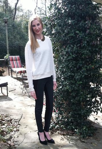 LOFT sweater, F21 necklace, LOFT skinny trouser pants, BCBG black pumps