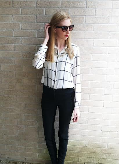 LOFT Grid button down top, LOFT split color high waist skinny trousers, bcbg black pumps, jcrew crystal necklace