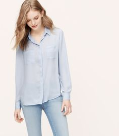 LOFT Aqua Utility Button down