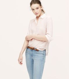 LOFT Seersucker blush button down