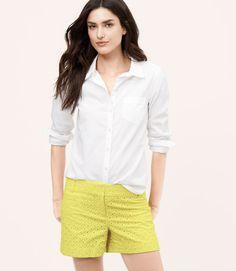 LOFT Citron Eyelet Shorts