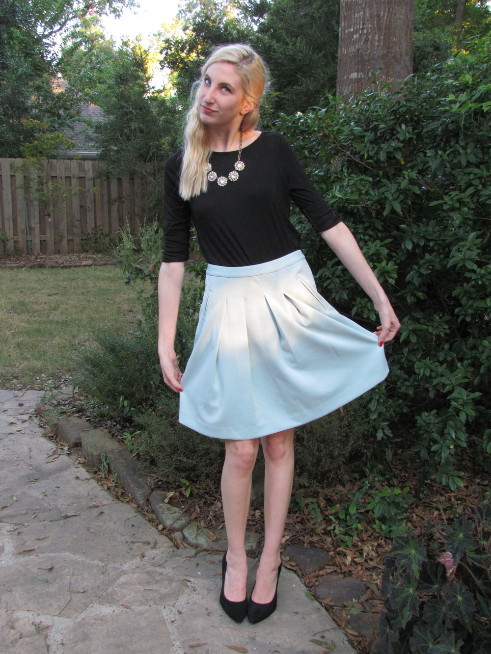 LOFT black longsleeve, J.Crew Factory crystal necklace, LOFT Mint midi skirt, BCBGeneration black pointed-toe pumps - Southern New Yorker